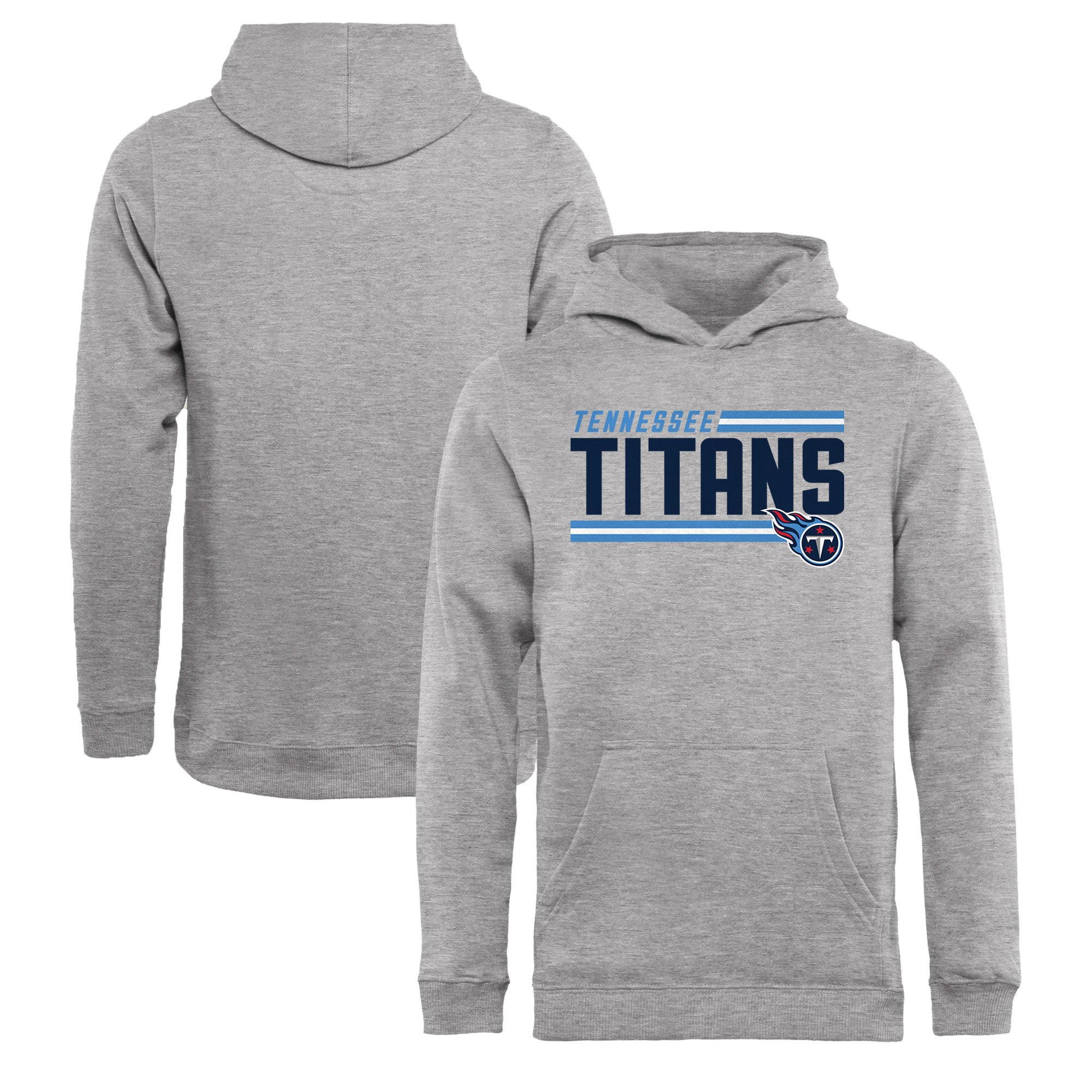 Tennessee Titans NFL Pro Line by Fanatics Branded Youth Iconic Collection On Side Stripe Pullover Hoodie - Ash