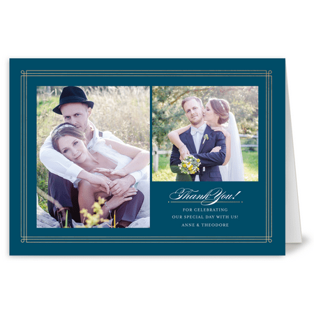 Personalized Wedding Thank You Card - Elegant Lines - 5 x 7 Folded