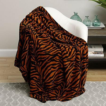 Animal Print Ultra Plush Brown Zebra Queen Size Microplush