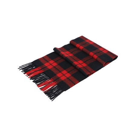 Soft Luxurious Cashmere Winter Scarf with Gift Box,Red Black Plaid