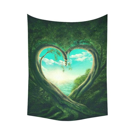 PHFZK Landscape Wall Art Home Decor, Spring Green Tree Tapestry Wall Hanging 60 X 80 Inches