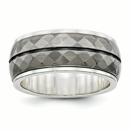 Edward Mirell Sterling Silver & Black Ti Inlay Black Stripe Ring Size 8 - image 4 of 4