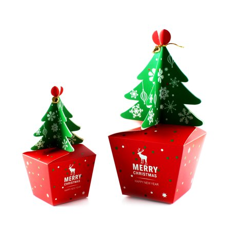 5 Pcs Christmas Tree Eve Box Xmas Party Bags Gift Filled or Empty Craft Cookie Boxes -L - Christmas Cookie Gift Boxes