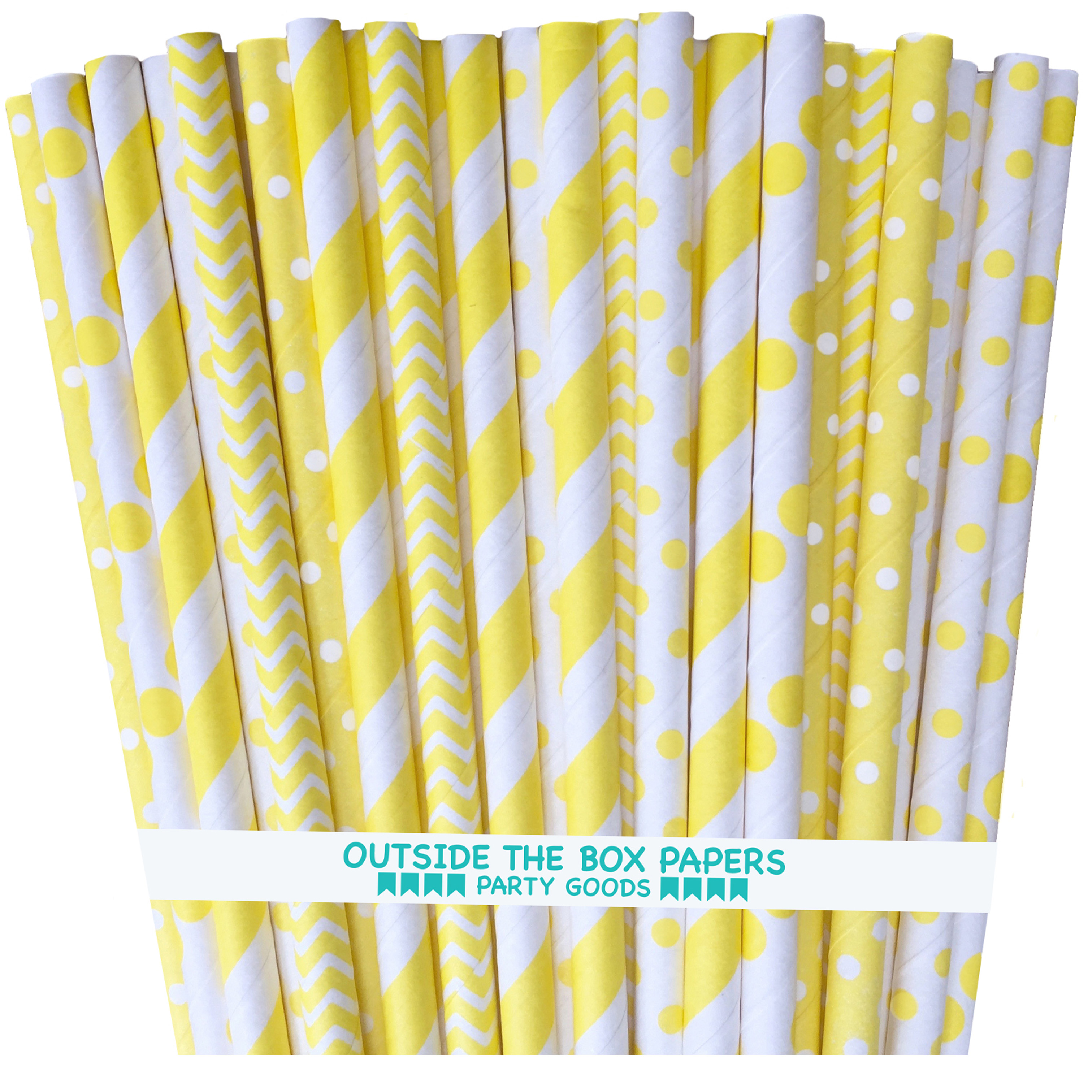 Yellow Stripe, Chevron and Polka Dot Paper Straws  125 Pack