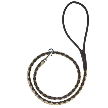 Soft and Padded Rolled Round Hand Braided Leather Leash