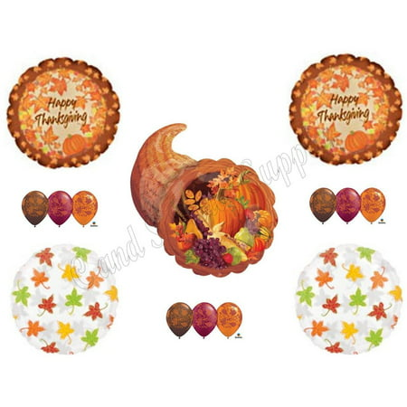 THANKSGIVING CORNUCOPIA DINNER BANQUET Balloons Decoration Supplies 14 pieces - Basketball Banquet Decorations