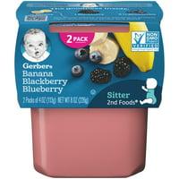 (Pack of 8) Gerber 2nd Foods Baby Food, Banana Blackberry Blueberry, 2-4 oz Tubs