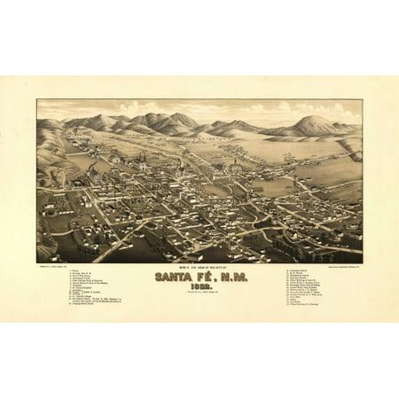 Canvas Santa Fe >> Vintage Map Of Santa Fe New Mexico 1882 Santa Fe County Canvas Art 24 X 36
