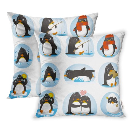 EREHome Cute Penguin of in Different Situations Like Dancing Fishing Winter Swimming Pillowcase Cushion Cases 18x18 inch Set of 2 - image 1 de 1