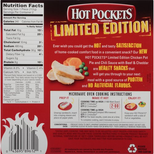 Hot Pockets Limited Edition En Pot Pie Sandwiches 2 Count 8 Oz