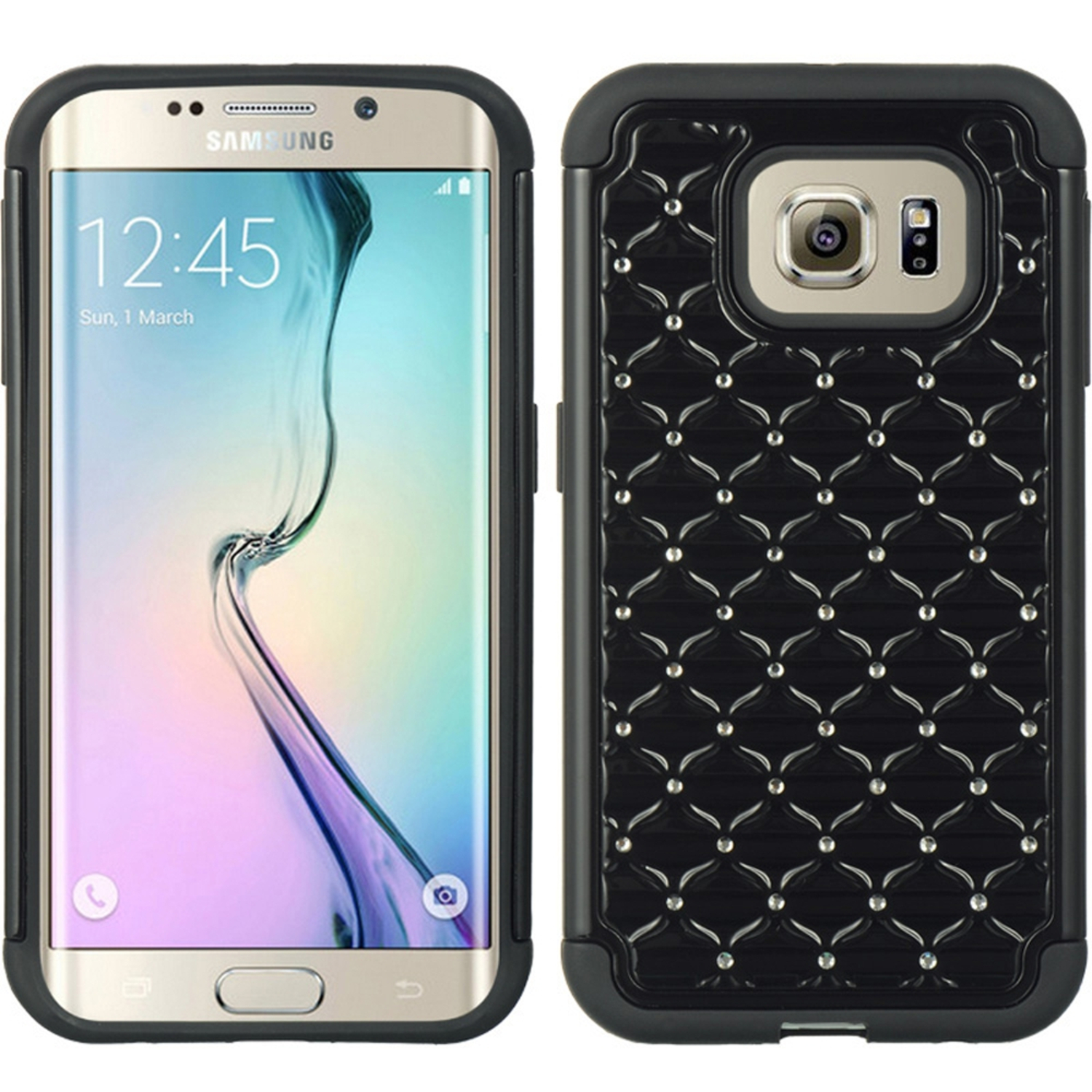 Samsung Galaxy S6 Edge Case, by Insten Dual Layer [Shock Absorbing] Hybrid Hard Plastic/Soft TPU Rubber Case Cover With Diamond For Samsung Galaxy S6 Edge