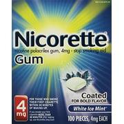 Nicorette OTC Stop Smoking Nicotine Gum, 4mg-White Ice Mint-100 ct.
