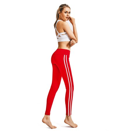 Sport Athletic Stripes Printing Pants for Women Fitness Leggings Workout Activewear  Elastic Waist Yoga  Bottoms Running Gym