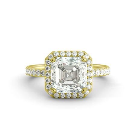 4.55 ct Asscher Cut One Moissanite & Diamond Halo Engagement Ring 18 Yellow Gold (Ascher Cut Diamond)