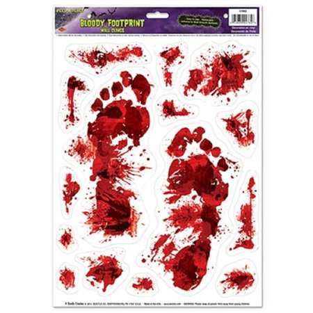 Club Pack of 180 Bloody Footprint Peel 'N Place Halloween Decorations