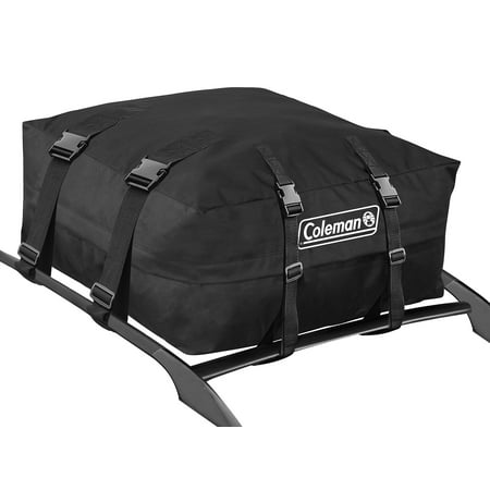 Coleman Water Resistant Roof Top Rack Cargo Carrier - For Vehicles with and without Rails - All Weather Storage Bag - Black