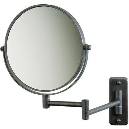 Jerdon 8u0022 2-Sided Swivel Wall Mount Mirror with 5x Magnification, 13.5u0022 Extension, Bronze