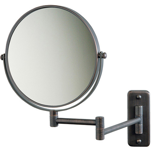 """Jerdon 8"""" 2-Sided Swivel Wall Mount Mirror with 5x Magnification, 13.5"""" Extension, Bronze"""