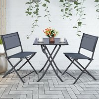 Goplus 3-Piece Bistro Set Garden Backyard Table Chairs Outdoor Patio Furniture Folding