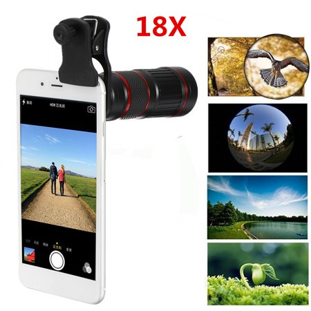 Grtxinshu 8/18X Cellphone Clip-on Telescope Universal High Definition Optical Zoom Focus Phone Telescope Camera Lens For Concert Outdoor