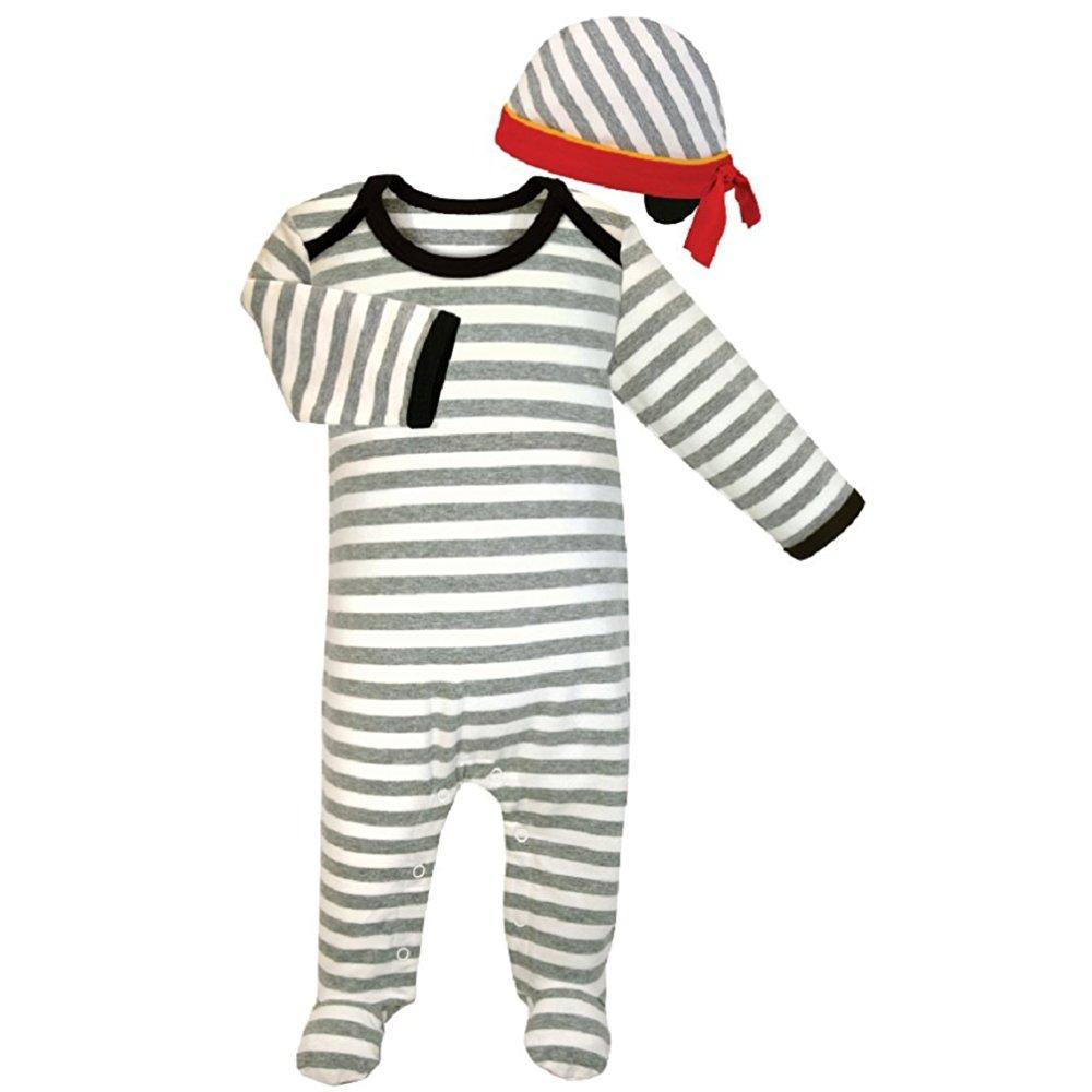 Stephan Baby 611314 Striped Footie Romper & Cap Set, 0-3 Months