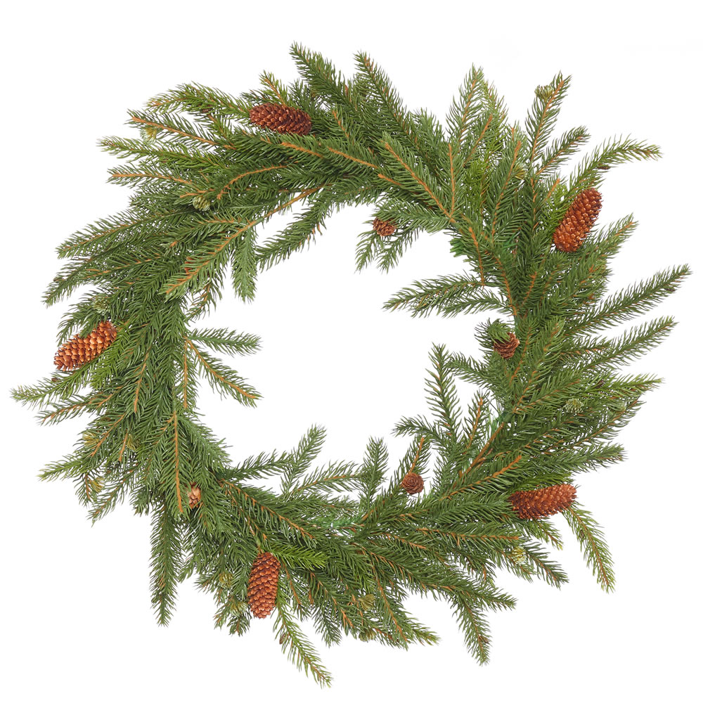 "Vickerman 21"" White Spruce Artificial Christmas Wreath, Unlit"