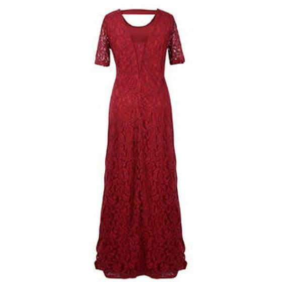 d2fb155aa Unomatch - Women Back Zip Fastening Lace Long Plus Size Dress Red ...