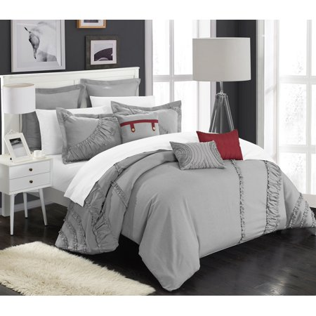 Chic Home 12-Piece Dearly NEW FAUX LINEN FABRIC COLLECTION OVERSIZED AND OVERFILLED embroidered GEOMETRIC pleated ruffled color block Queen Bed In a Bag Comforter Set Silver With White Sheets included