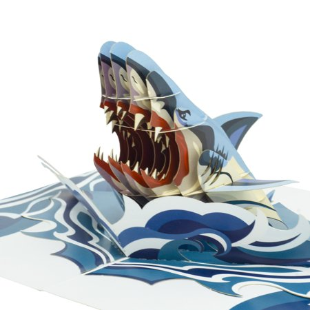 Paper Love Shark Pop Up Card, 3D Popup Greeting Cards, For Fathers Day, Mothers Day, Graduation, Spring, Valentines Day, Wedding, Anniversary, Birthday, Any Occasion ()