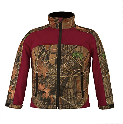 Trail Crest Kid's Camo & Neon Colors Custom Soft Shell Waterproof Jacket, Medium, Burgundy & Camo