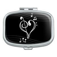 Treble Bass Clef Heart Music Black Rectangle Pill Case Trinket Gift Box