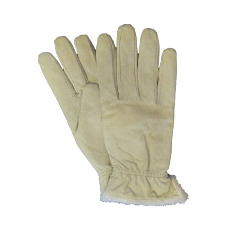Isotoner Womens Beige Suede Gloves With Gathered Wrists & Microluxe (Isotoner Womens Suede Gloves With Gathered Wrist)