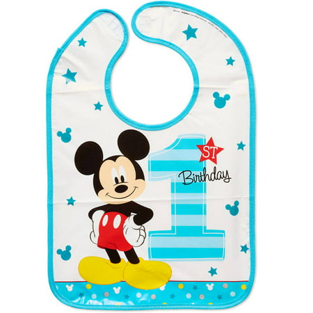 Mickey Mouse 1st Birthday Bib (Mickey Mouse First Birthday Vinyl Baby Bib, 14.5