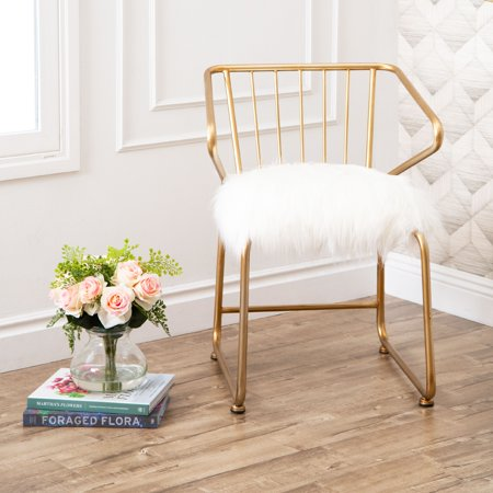 Devon & Claire Genie Gold And Faux Fur Dining Chair