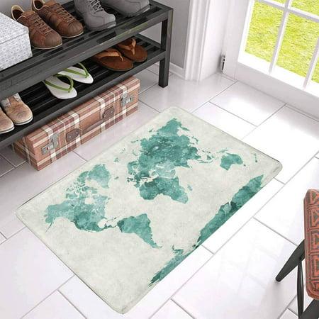 POP World Map in Painting Abstract Splatters Green Doormat Entrance Mat Floor Rug Indoor/Front Door Mats Home Decor 30x18 Inches - image 2 of 3