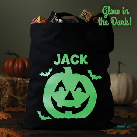 Personalized Glow In the Dark Halloween Treat Bag, 5 Spooky Styles