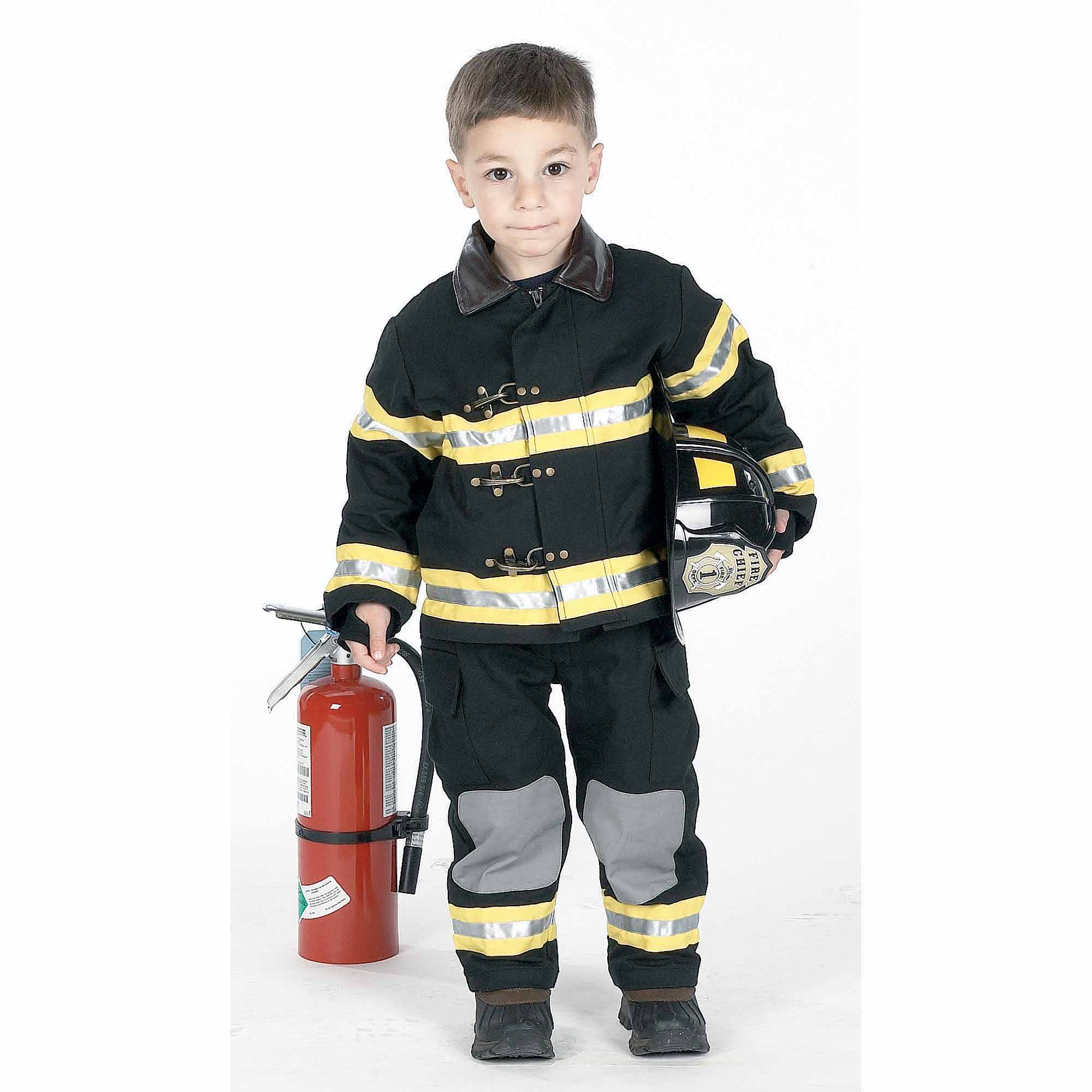 Black Fire Fighter with Hat Child Halloween Costume