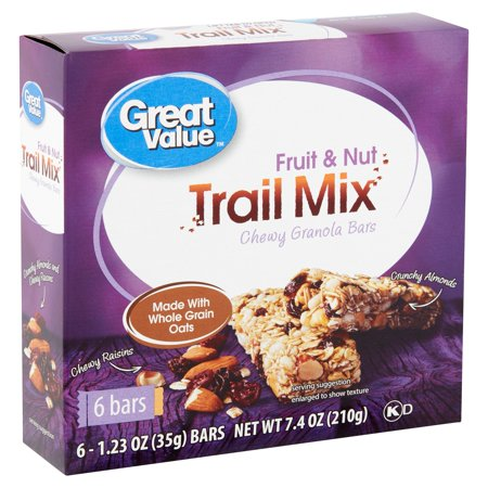 Great Value Trail Mix Fruit & Nut Chewy Granola Bars 1.23 oz 6 count