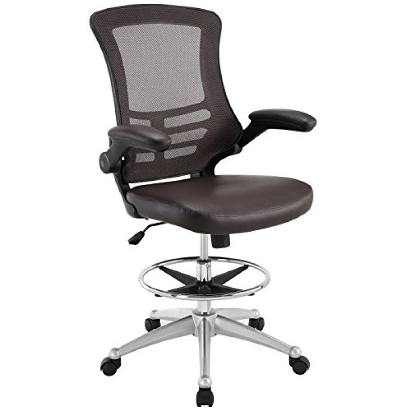 Modway Attainment Drafting Chair In Brown   Reception Desk Chair   Tall  Office Chair For Adjustable