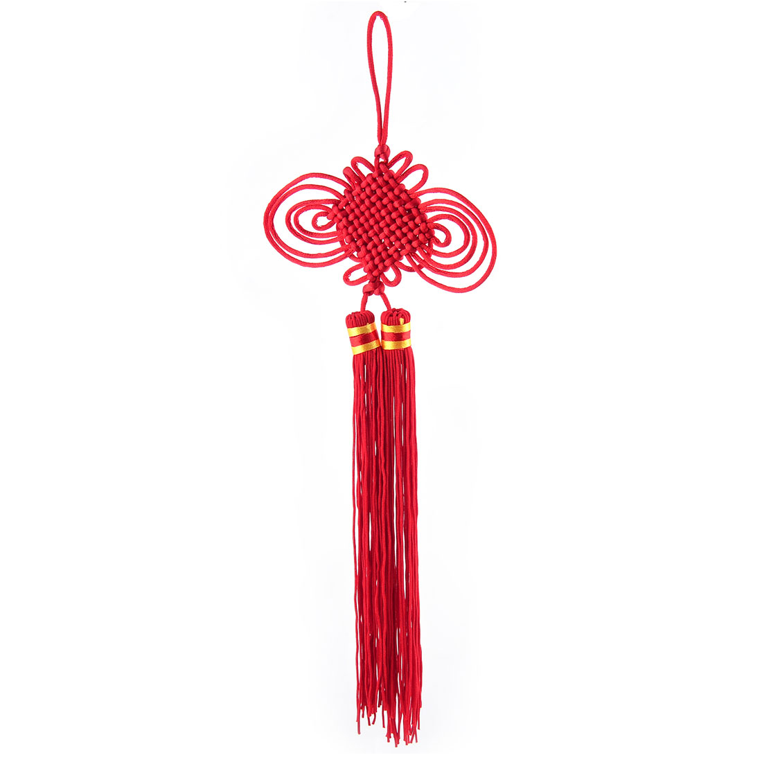 Flat Polyester Handmade Double Tassel Ornament Crafting Chinese Knot 34cm Length