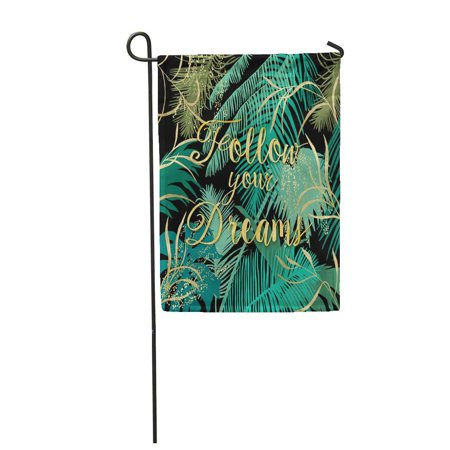 NUDECOR Beautiful Tropical Summer with Palm Trees Banana with Sentimental Quote Follow Garden Flag Decorative Flag House Banner 12x18 inch - image 1 of 1