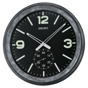 Seiko Black Modern Wall Clock with Subdial - 20 in. diam.