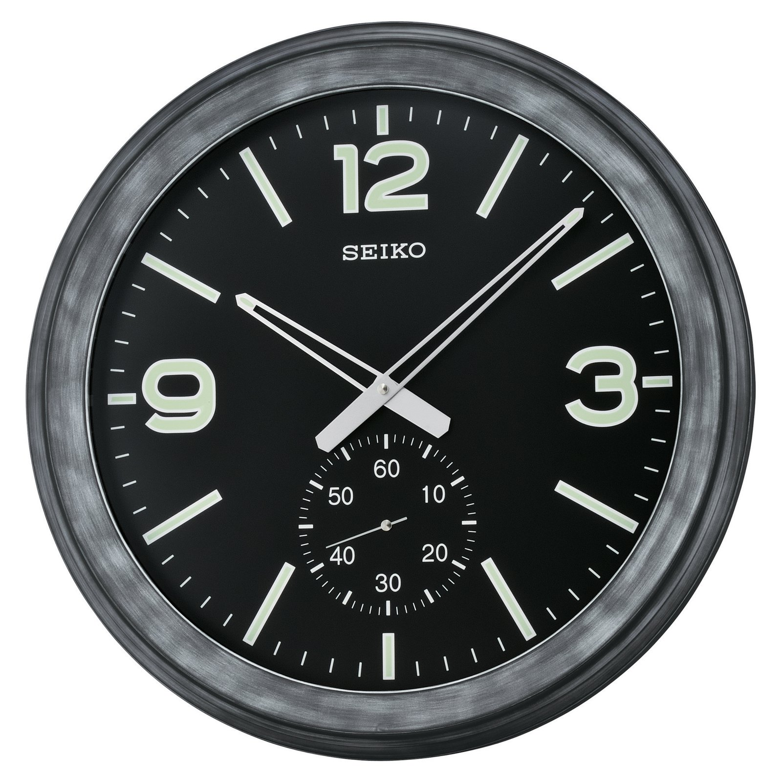 Seiko Black Modern Wall Clock with Subdial - 20 in. diam.