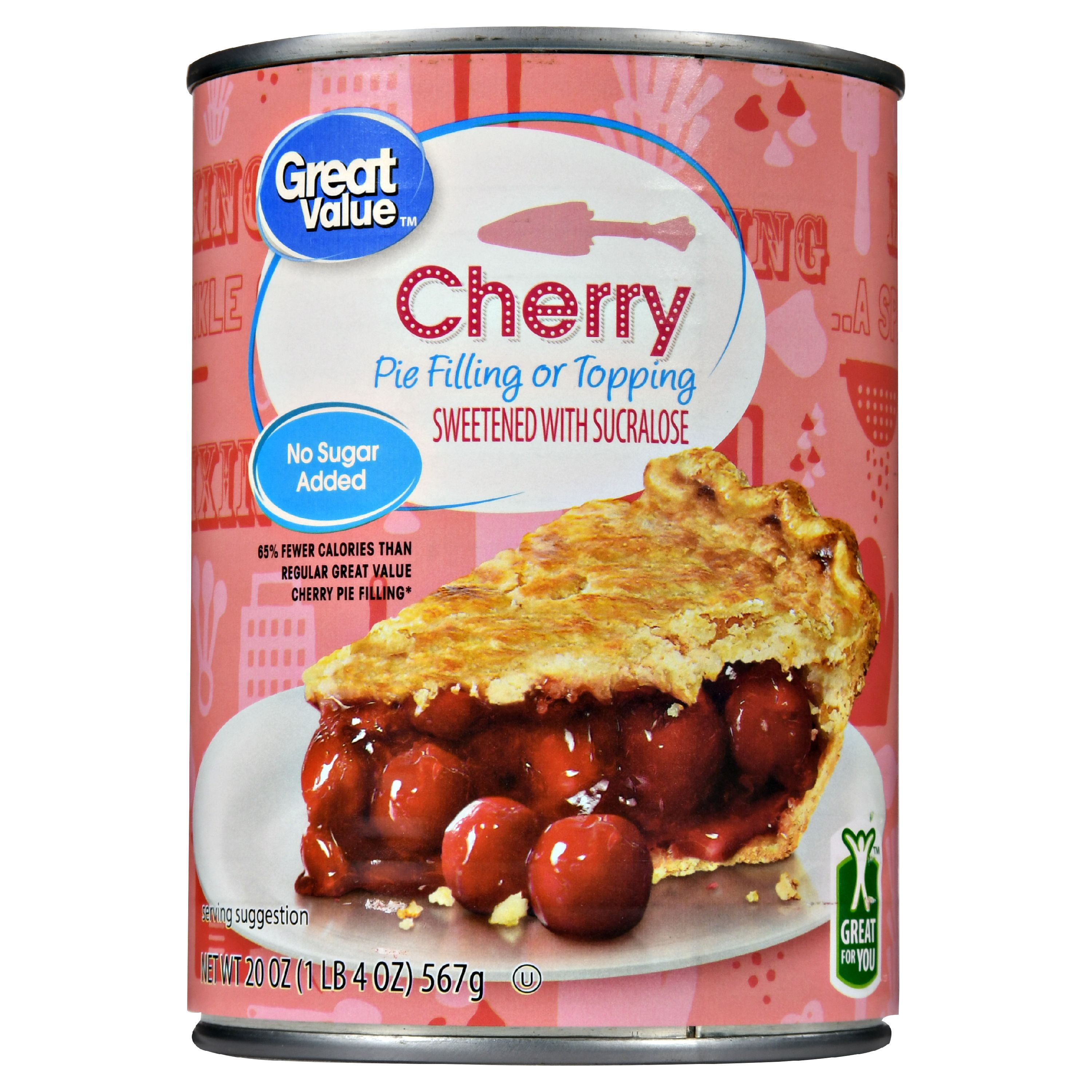 Great Value Pie Filling or Topping No Sugar Added, Cherry, 20 oz