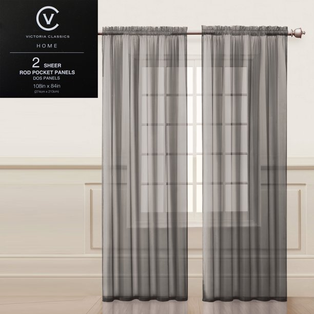 Sheer Rod Pocket Window Curtain Panels
