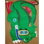 "Swimming Alligator Applique Garden Flag Ocean Funny 11""x15"""