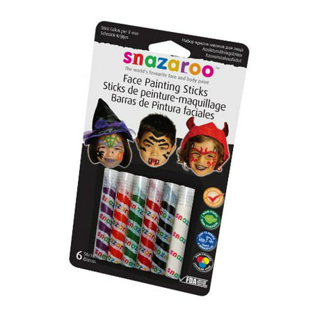 Snazaroo Face Painting Sticks 6/Pkg-Orange/White/Red/Green/Purple/Black Multi-Colored (Snazaroo Face Painting Kit Halloween)