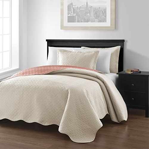 "Chezmoi Collection Mesa 3-piece Oversized (118""x106"") Reversible Bedspread Coverlet Set King, Ivory/Salmon"