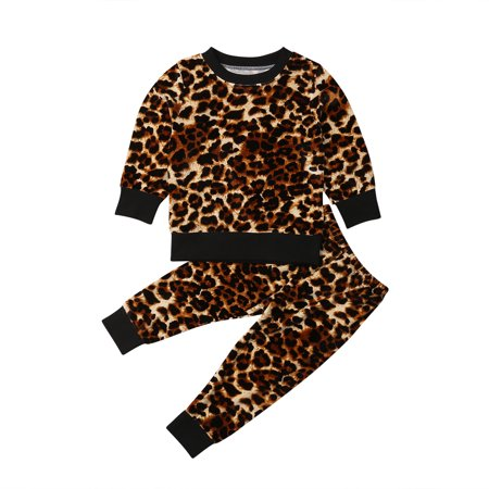 Baby Tracksuit (2PCS Toddler Baby Girl Leopard print Clothes Tops Pants Outfits Set Tracksuit )