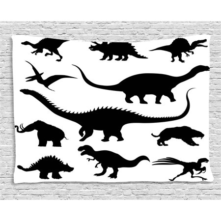Dinosaur Tapestry, Various Black Dino Silhouettes Jurassic Evolution Extinction Predator Animals, Wall Hanging for Bedroom Living Room Dorm Decor, 60W X 40L Inches, Black White, by